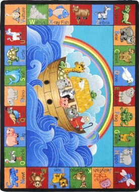 Kid Essentials - Inspirational Area Rugs Noah's Alphabet Animals Multi by Joy Carpets