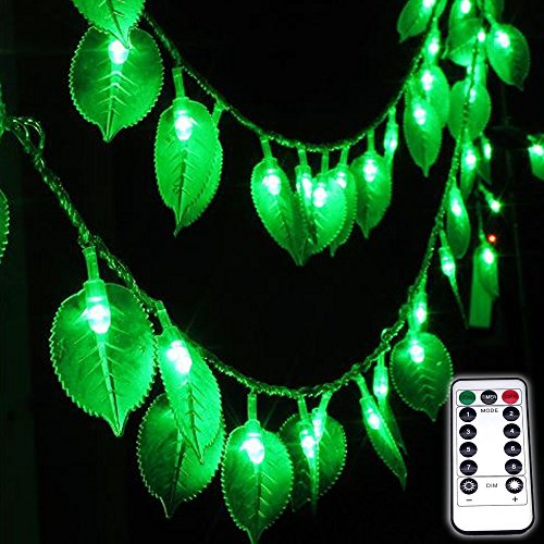 Dreamworth Green Leaf String Lights,8Ft/2.5M 20LEDs Battery Operated Green Leaf Fairy Lights with Remote Controller,Perfect for Christmas Bedroom and Decoration courtyard park lighting
