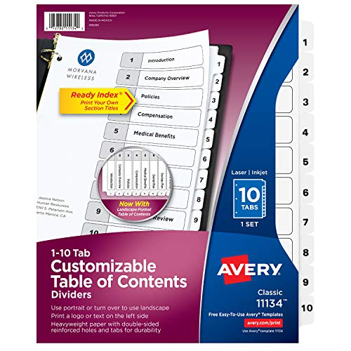 Avery 10-Tab Dividers for 3-ring Binders, Customizable Table of Contents, Classic White Tabs, 1 Set (11134)
