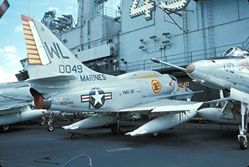 Home Comforts Laminated Poster Douglas A-4E Skyhawks of Marine Attack Squadron VMA-311 Tomcats on The Aircraft Carrier USS Coral Se