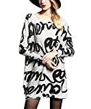 Women's Baggy Fashion Painting Letter Printed Crew Neck Pullover Sweater Dress