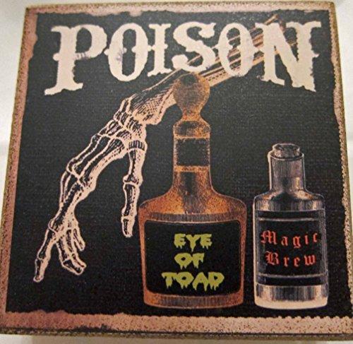 CVS Halloween Wooden Wording Block Sign: Poison, Eye of Toad, Magic Brew Sign]()
