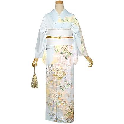 京都きもの町 高級プレタ お仕立て上がり 訪問着 単品「藍白色 霞に草花」
