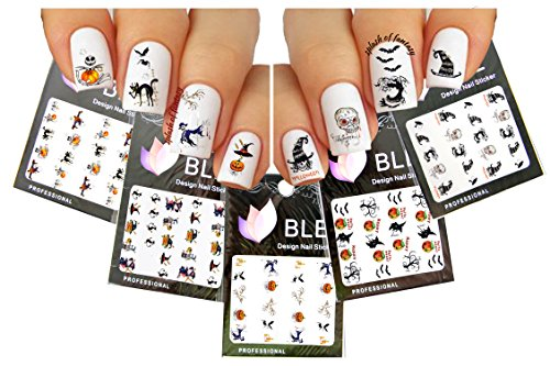 Halloween Nail Art Water Tattoo Decals, 5 Packs Variety Mix by La Demoiselle -