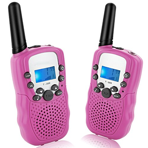 ANCICO Walkie Talkies for Kids, 22 Channel Two Way Radio 3 Miles (Up to 5Miles) Walkies Talkies, Long Range Wireless Handheld Mini Outdoor Camping Toys for Boys Girls( 1 Pair ) Pink