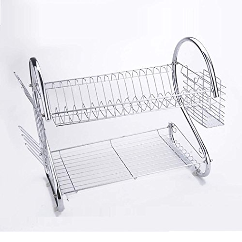 WOOKRAYS 2 Tiers Kitchen Dish Cup Drying Rack Drainer Dryer Tray Cutlery Holder Organizer