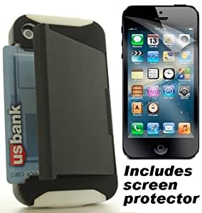 Black White Stowaway Style Credit Card Holder Apple iPhone 4S 4 Cover Case w/ Screen Protector