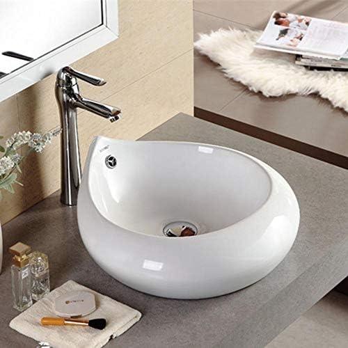 洗面ボウル カウンターホワイト磁器船沈没ホワイトドロップ型のアート盆地の上バスルーム 浴室の台所の流し (Color : White, Size : 47x46x20cm)