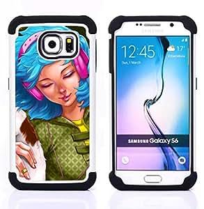 """Pulsar ( Dibujo azul mujer de pelo Auriculares Grunge"""" ) Samsung Galaxy S6 / SM-G920 SM-G920 híbrida Heavy Duty Impact pesado deber de protección a los choques caso Carcasa de parachoques"""