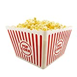 [Novelty Place] Plastic Red & White Striped Classic Popcorn Containers for Movie Night - 8