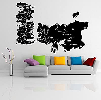 ( 71'' x 50'' ) Vinyl Wall Decal World Map Game of Thrones with Castles / Atlas Shiluette Poster Sticker / Kingdom Westeros Mural + Free Random Decal Gift