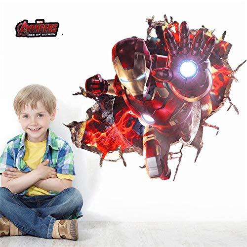 Spider Man Iron Man Wall Sticker Cartoon Mural Art 3D Decal Wallpaper Decor Room