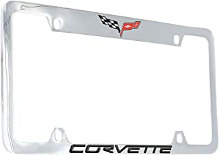 product image for Chevrolet Corvette C6 Chrome Plated Metal Top Engraved License Plate Frame Holder