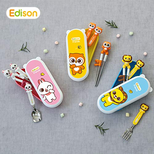Edison Non-Toxic, Stainless Steel Training Chopsticks Flat Edge Spoon & Fork Case Set for Right-hand Toddler with Fun Characters ()