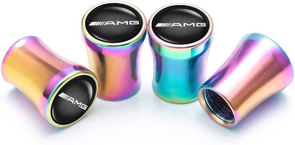 N//P AMG Car Wheel Tire Air Valve Caps Stem Cover 4 Pcs for Mercedes Benz AMG A//B//C//CLS//E//CLA//S//GLE//GLC Logo Styling Decoration Accessories.