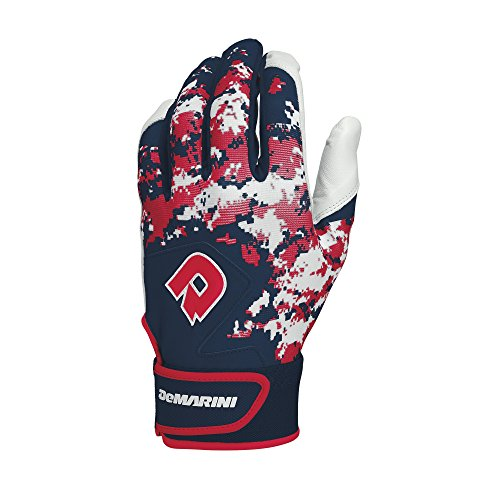 DeMarini Digi Camo II Youth Batting Gloves, Red/White/Blue, Medium, Pair