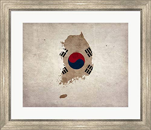 Map Flag Overlay South Korea Color Me Happy Framed Art Print Wall Picture, Silver Scoop Frame, 25 x 21 inches