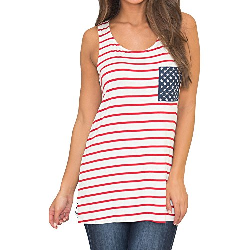 (HAPPYSTORE Women Vest Striped Tank Top American Flag Printed Sleeveless Shirt African T-Shirt Red)