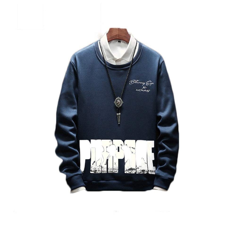 Color : Blue, Size : XL MUMUWU Men Autumn and Winter New Print Casual Long-Sleeved Pullover
