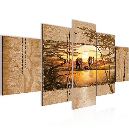Bilder-Afrika-Elefant-Wandbild-Vlies-Leinwand-Bild-XXL-Format-Wandbilder-Wohnzimmer-Wohnung-Deko-Kunstdrucke-Orang-5-Teilig-100-MADE-IN-GERMANY-Fertig-zum-Aufhngen-001752a