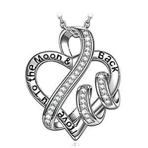 """?Christmas Gift? 925 Sterling Silver Engraved Heart Necklace NINASUN """"I Love You To The Moon And Back"""" Fine Jewelry for Wome, 18""""+2"""" Extender"""