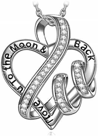 ♥Christmas Gift♥ 925 Sterling Silver Engraved Heart Necklace NINASUN