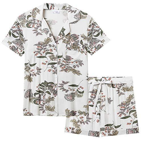 Joyaria Womens Soft Bamboo Pajama Sets Button Down Short Sleeve Pj Sleepwear (Maple Leaf,Small) ()