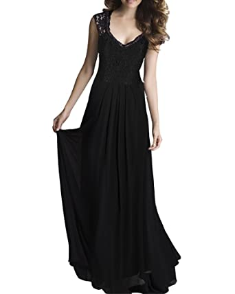 Womens Formal Evening Maxi Ball Gown Prom Dress Long Cocktail Lace Dress Black S