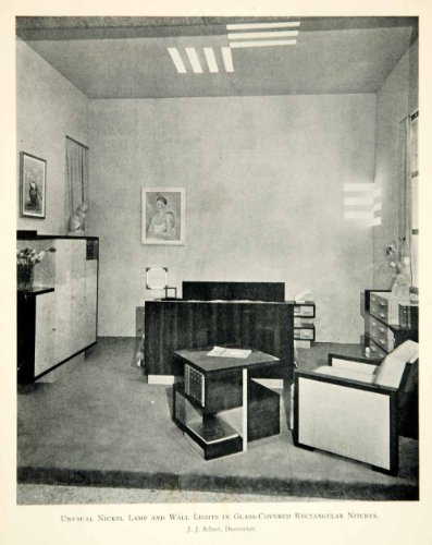 1930 Print Art Deco Jacques Adnet Bedroom Bed Furniture Lighting Bed Chair Room - Original Halftone Print from PeriodPaper LLC-Collectible Original Print Archive