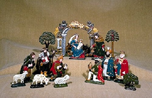 German Pewter Christmas Nativity Scene Display 15 Piece Set Made in Germany