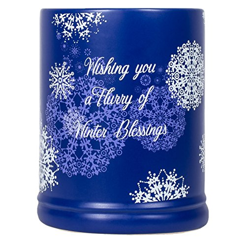 (Elanze Designs Winter Blessings Snowflakes Blue Christmas Stoneware Electric Large Jar Candle Warmer)