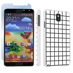 Samsung Galaxy Note 3 III White Designer Hard Case + Screen Protector By SkinGuardz - Black White Lines