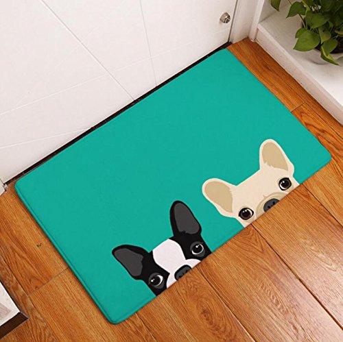 Cartoon Door - Eazyhurry Cartoon Dog Brothers Print Rectangle Thin Doormat Pet Puppy Dog Printed Coral Fleece Home Decor Carpet Kitchen Floor Runner Floor Mat Indoor Outdoor Area Rug 16