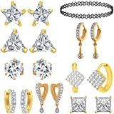Jewels Galaxy Gold Plated Jewellery Set for Women (White)(CB-BLL-85)