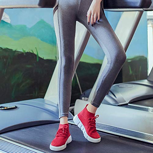 Women Lace Round Red Girl Shoes Mesh Breathable Toe Casual up Shoes Teen FALAIDUO Sneakers Running dFXaqd