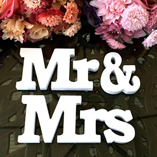 JMAF Mr Mrs Sign Letters - Wooden Letters Decoration, Mr Mrs Wedding Decor, Sweetheart Table Wedding Decorations, White -
