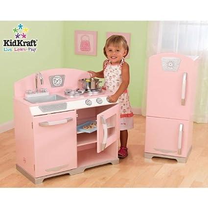 Amazon.com: KidKraft Retro Kitchen and Refrigerator,Pink: Toys & Games