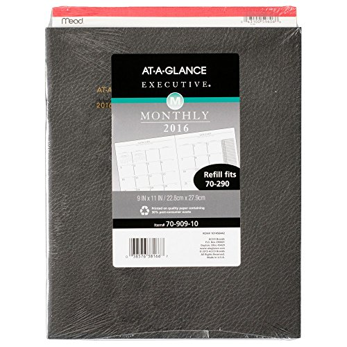 Executive Monthly Planner Padfolio - AT-A-GLANCE Monthly Planner Refill 2016 for Executive Monthly Padfolio, 13 Months, January – January, 9 x 11 Inch Page Size (7090910)
