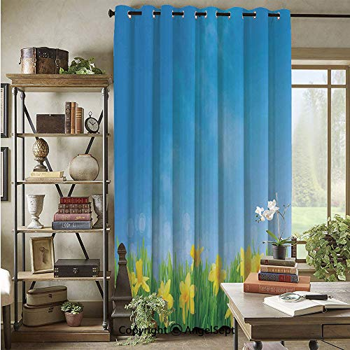 Grommet Blackout Curtain,Spring Narcissus Flowers in Grass Field Sunny Sky Decorative Floral Home Decor,72x96inch,for Patio Door,Yellow Green Blue