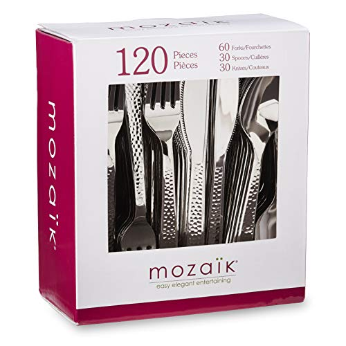 - Mozaik Premium Plastic Hammered Stainless Steel Coated Assorted Cutlery, 120 pieces