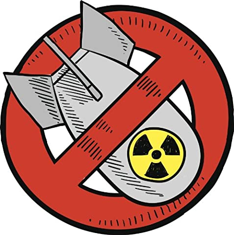 NO NUCLEAR BOMB GREY BLACK YELLOW RED Vinyl Decal Sticker Two in One Pack (12 Inches Tall) (Nuclear Bomb Decal)