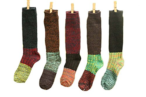Santwo Color Block Warm Wool Blend Knited Lace Trim Hold-up Boot Crew Socks Winter Leg Warmer 5 Pairs