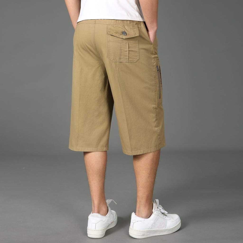 ♞Deadness Shorts for Men Fashion Summer Casual Solid Pocket Trunks Elastic Band Beach Pants