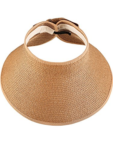 Hestya Women's Wide Brim Roll-up Straw Sun Visor Packable Foldable Sun Visor Beach Open Top Hat (Natural Color)