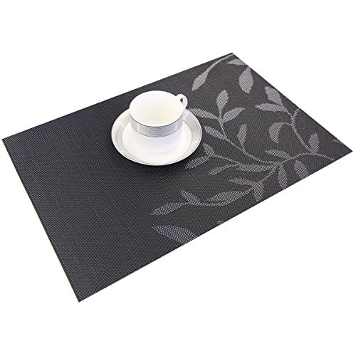 Bright Dream Placemats Plastic for Kids Washable Easy Wipe Clean for Dinner Table Heat-resistand Woven Vinyl Outdoor Table Mats Set of 6(Black) by Bright Dream (Image #6)