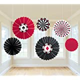 """Amscan Casino Printed Paper Fan Hanging Party Decoration (6 Piece), Multi Color, 13 x 11"""""""