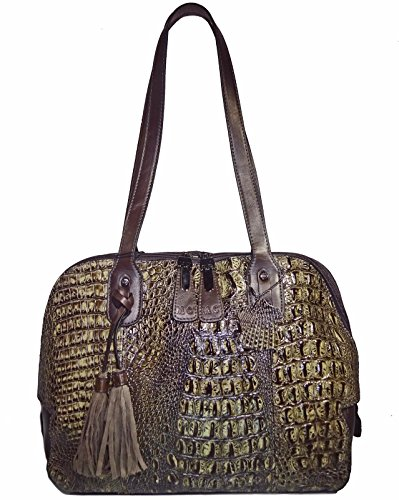 M.C. Handbags Croc Embossed Genuine Leather Shoulder Dome Tote- Gray