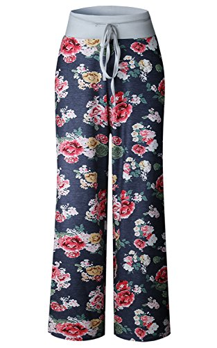 9a624d37c2b AMiERY Women s Comfy Casual Pajama Pants Floral Print Drawstring Palazzo  Lounge Pants Wide Leg