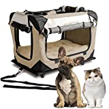 "PetLuv ""Pull-Along Rolling Cat & Dog Carrier & Travel Crate on Wheels - Matching Comfy Plush Nap Pillow, Reduces Anxiety"