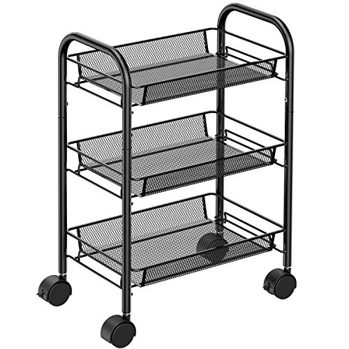 3-Tier Mesh Wire Rolling Utility Cart Multifunction Metal Organization with Lockable Wheels for Home, Office, Kitchen…